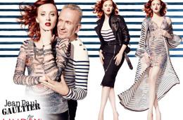 V kampani ke kolekci Gaultier x Lindex je modelka Karen Elson vystupuje i samotný módní návrhář. Spolu s modelkou Karen Elson.