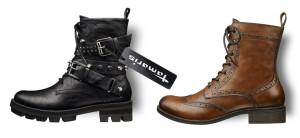 Kotníkové šněrovací boty Tamaris v alternativních módních stylech.