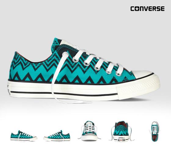 Conversky Missoni s cik-cak vzory: zelené nízké konversky z kolekce Converse x Missoni Chuck Taylor All Star.