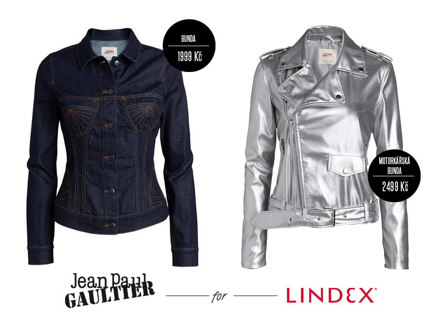 Moto bunda (biker jacket) ve stříbrné i z džínoviny z kolekce Jean Paul Gaultier pro Lindex.