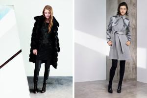 Kabáty Karen Millen – lookbook podzim/zima 2014: kožešinový bundokabát a nádherný šedý zimník se saténovými vsadkami.