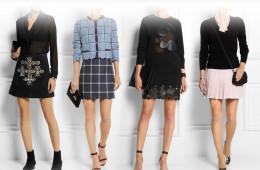 Minisukně pro podzim 2014 vyniknou i v jednoduchých outfitech. Zleva mini sukně Saint Laurent, House of Holland, Christopher Kane a Miu Miu.