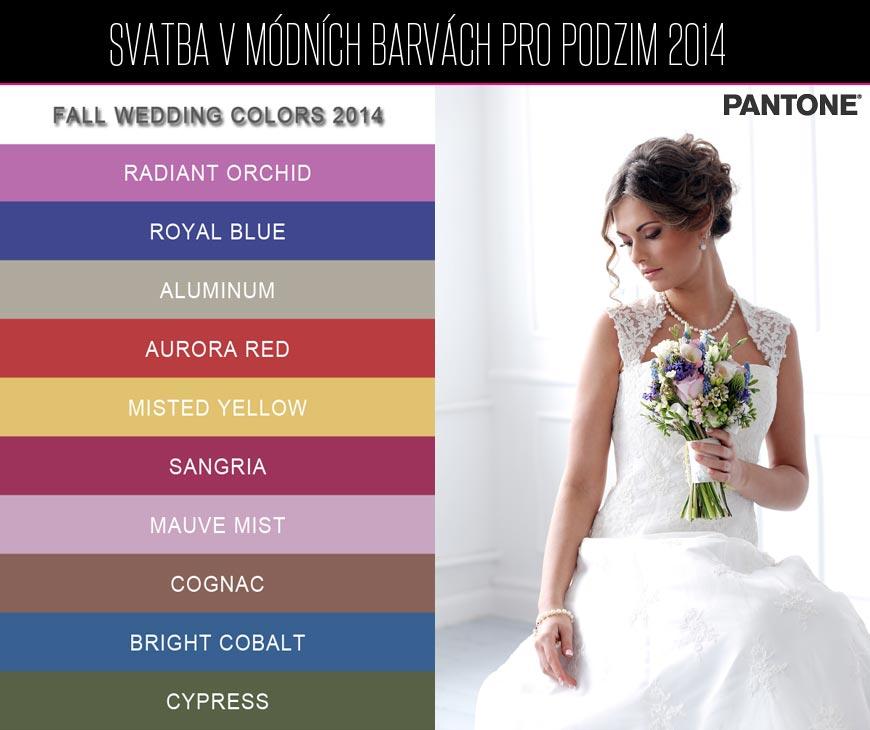 Svatba v módních barvách – vyberte si z deseti trendy barev Pantone pro podzim a zimu 2014/2015.