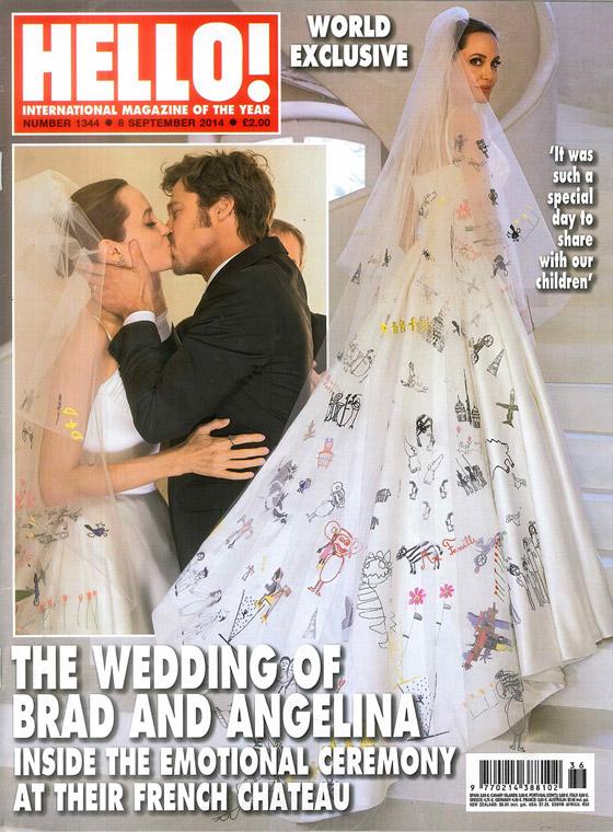 Svatební obálka Hello! magazínu, kde je vidět detailně závoj svatebních šatů Angleina Jolie pomalovaný kresbičkami dětí Angeliny a Brada.