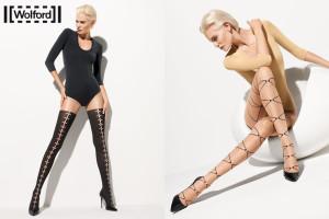 Módní vzorované punčocháče z luxusní kolekce značky Wolford.