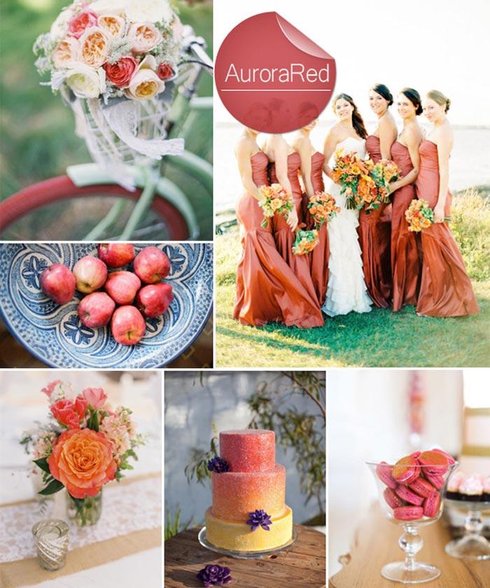 Barevná svatba podzim/zima 2014/2015 v odstínu Aurora Red.