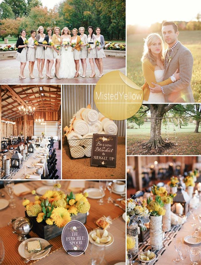 Barevná svatba podzim/zima 2014/2015 v odstínu Misted Yellow.