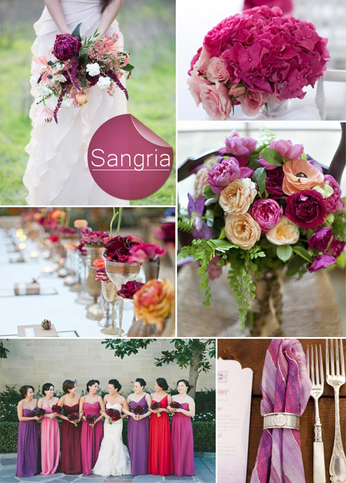 Barevná svatba podzim/zima 2014/2015 v odstínu Sangria.