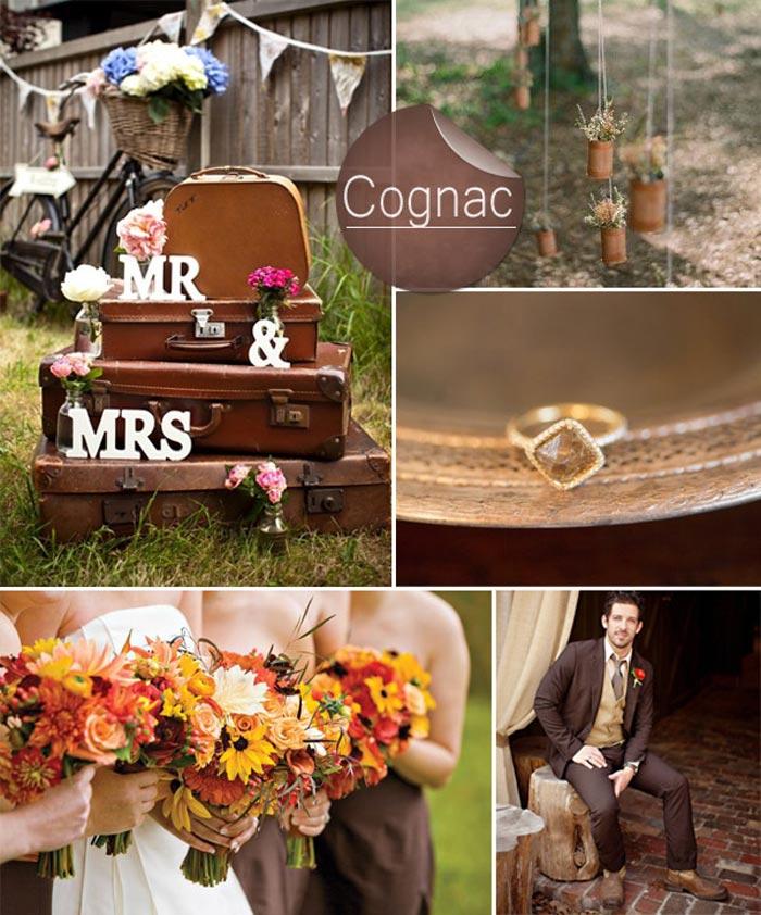Barevná svatba podzim/zima 2014/2015 v odstínu Cognac.