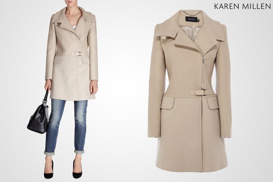 Kabát Karen Millen v cappuccinové barvě můžete nosit od chladnějších dní podzimu a po celou zimu.
