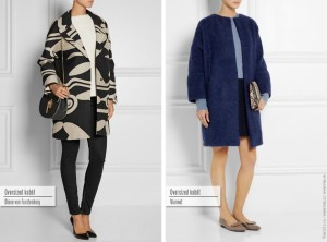 Oversized kabát: zleva Diane von Furstenberg, Vionnet.