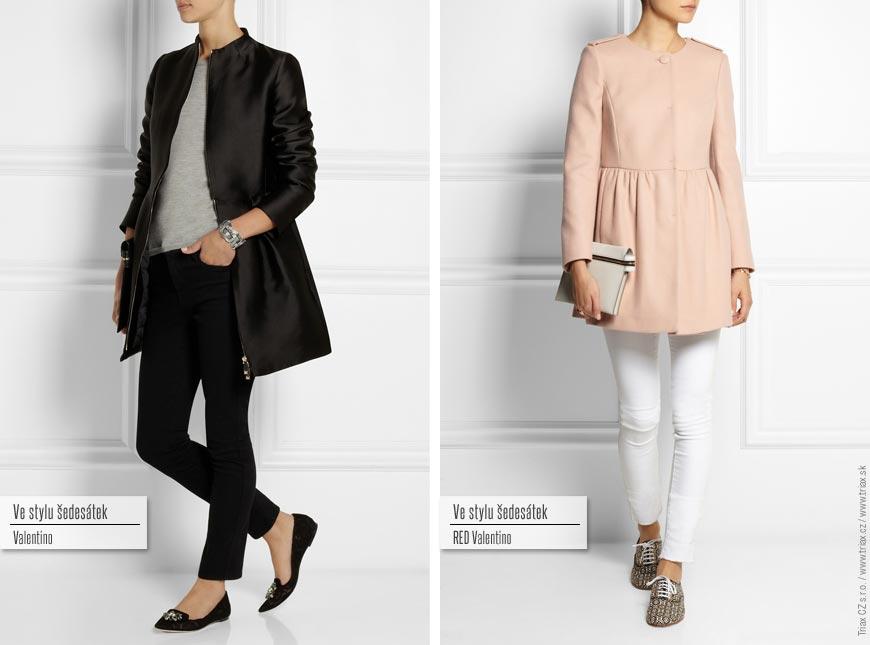 Kabát ve stylu šedesátek: zleva Valentino, RED Valentino.