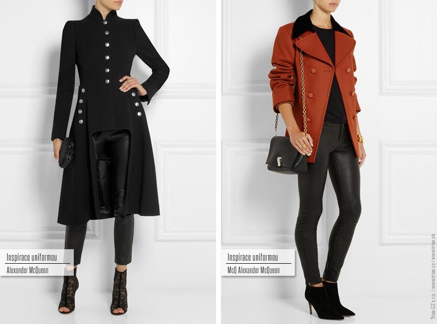 Kabát inspirovaný uniformou: zleva Alexander McQueen, McQ Alexander McQueen.