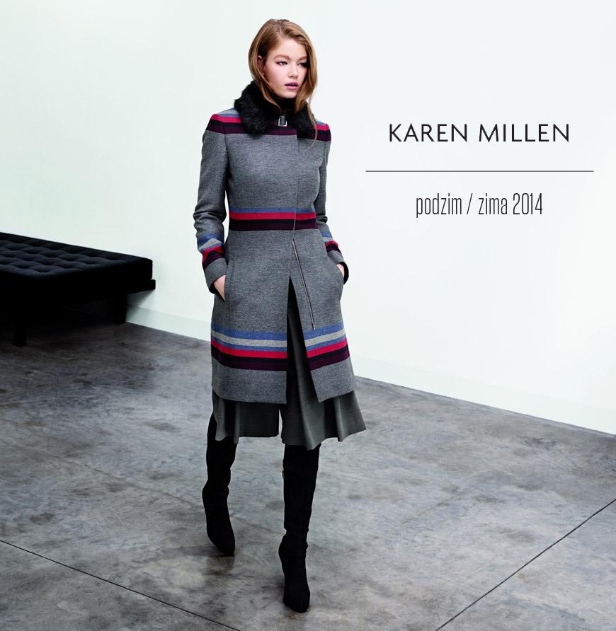 Hit mezi kabáty Karen Millen z kolekce F/W 2014/15: šedý pruhovaný kabát.