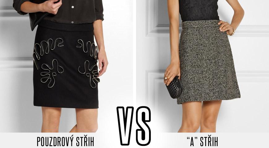 Pouzdrový střih minisukně Stella McCartney zdobí letos extra módní zipy. Sukně Dolce&Gabbana je typickým příkladem jednoduché A sukně, tentokrát s tvídu, který kontrastuje s krajkovým tričkem.