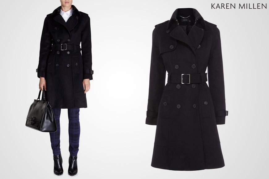 Karen Millen nabízí také nejoblíbenější typy kabátů: 3/4 černý kabát a to hned v několika variantách.