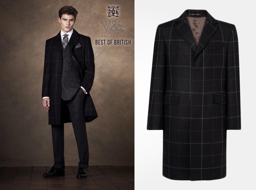 Pánský kabát z kolekce Marks&Spencer pro podzim/zima 2014/2015. Kabát je z kolekce Best of British a zdobí jej jemně naznačené káro.