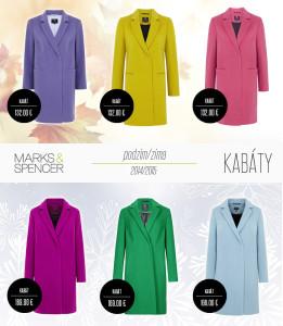 Kabáty Marks&Spencer pro sezónu podzim a zima 2014/2015 staví na minimalistických střizích a nádherným barvách.