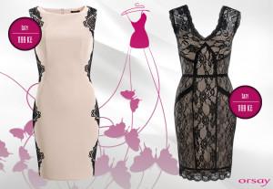 Orsay šaty z party kolekce pro podzim a zimu 2014/2015 vsází na zdobení krajkou.