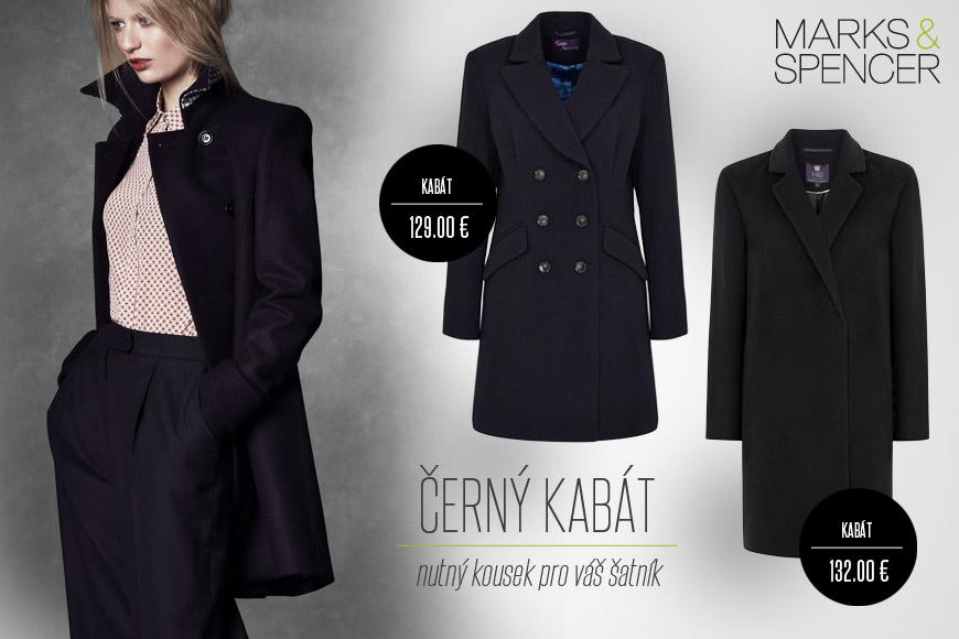 Černé kabáty z M&S pro sezónu podzim a zima 2014/2015.