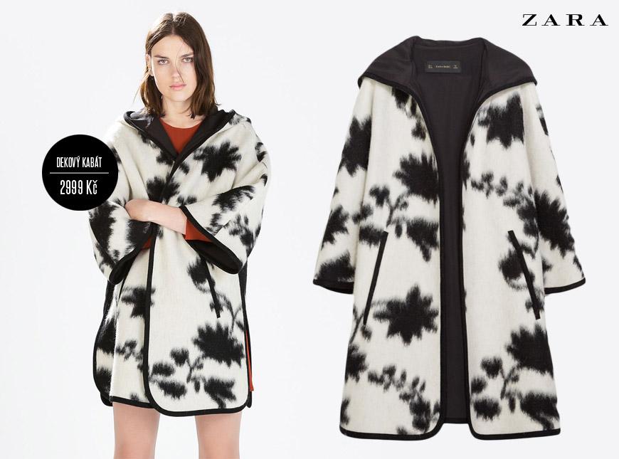 Kabát jako deka z kolekce Zara pro podzim a zimu 2014/2015, cena: 2999 Kč.