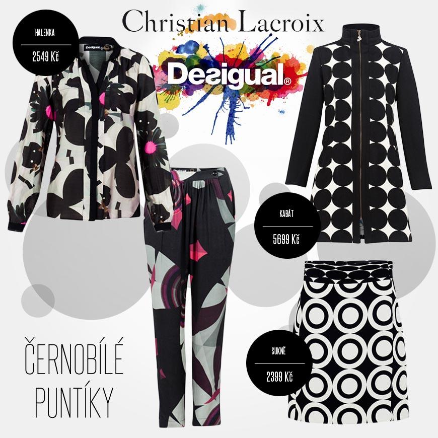 Černobílé puntíky v kolekci Desigual by Christian Lacroix pro podzim/zima 2014/2015.