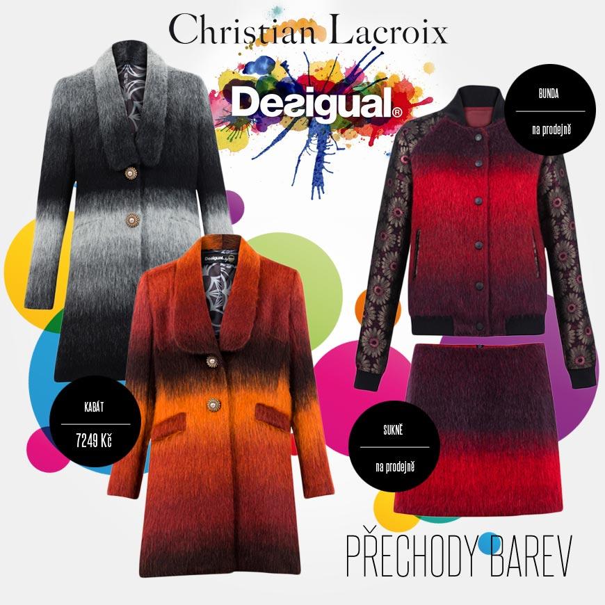 Inspirativní hra s přechody barev v kolekci Desigual by Christian Lacroix pro podzim/zima 2014/2015.