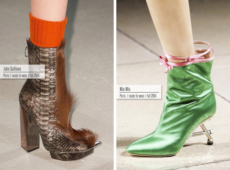 Trendy obuv podzim/zima 2014/2015: John Galliano, Miu Miu.