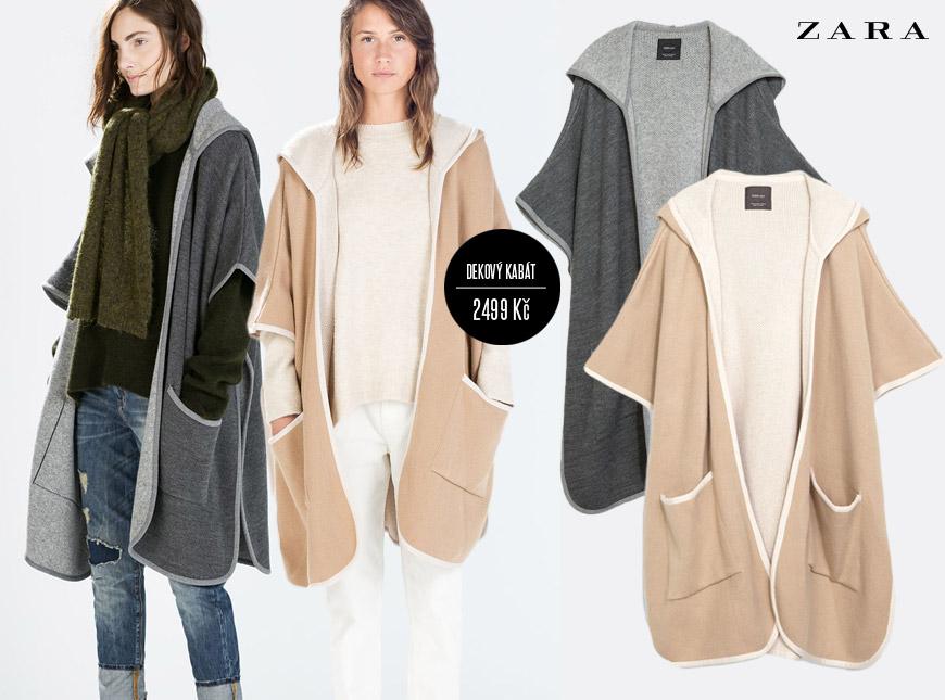 Modní kabát jako deka z kolekce Zara pro podzim a zimu 2014/2015, cena: 2499 Kč.