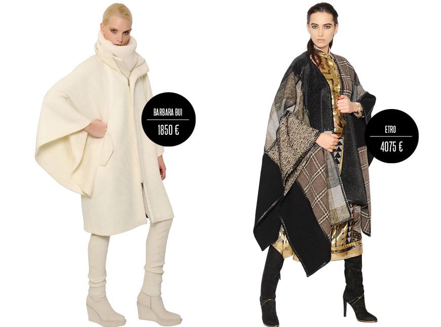 Kabát jako deka a vyšší škola módy – takto se nosí dekové kabáty: kabát Barbara Bui a Etro (podzim/zima 2014/2015).