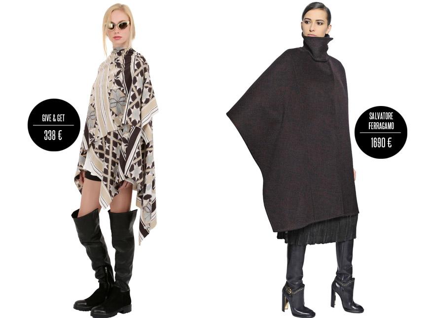 Cool dekové kabáty potřebují také fashion obutí. Na obrázku jsou kabáty Give&Get a Salvatore Ferragamo (kolekce podzim/zima 2014/2015).