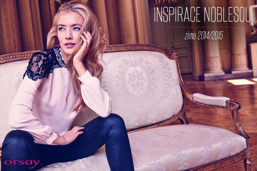ORSAY móda inspiruje svojí noblesou – halenka s krajkou přes ramena je z katalogu ORSAY podzim/zima 2014/2015.