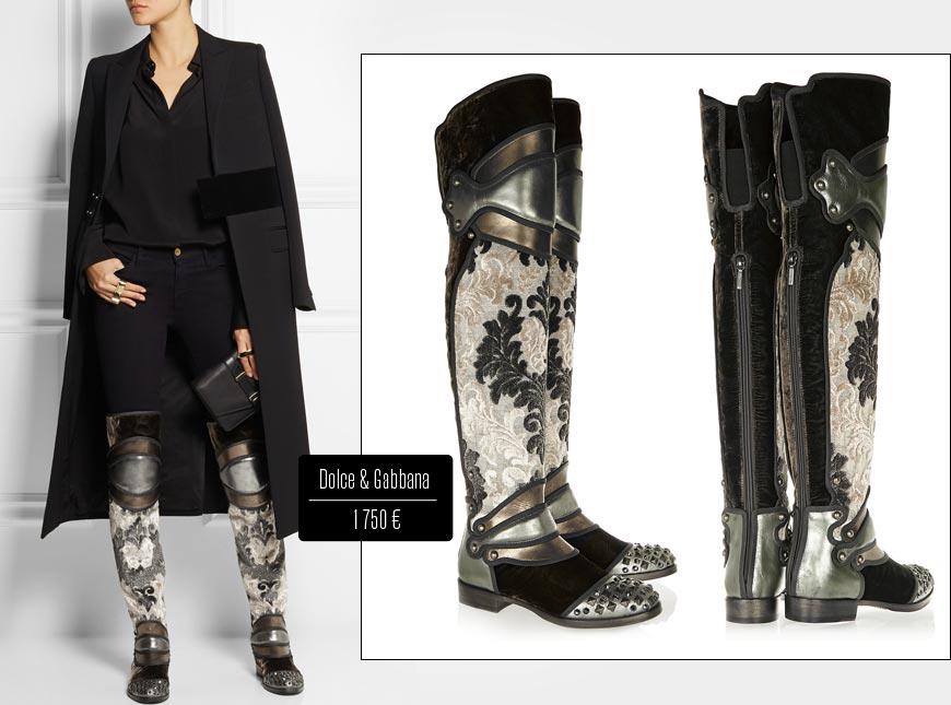 Vysoké kozačky nad kolena Dolce&Gabbana připomínají historické boty zbrojnošů.