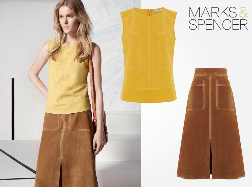 Úžasný komplet top a sukně z Marks&Spencer – jako z pravé kůže.