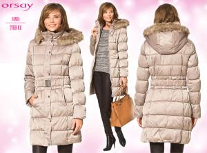 Dlouhá dámská bunda Orsay – katalog podzim/zima 2014/2015.