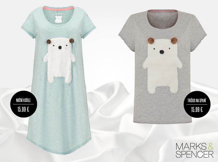 Mezi letošními kousky vyniká nádherná noční košile Marks&Spencer s motivem medvídka a také pyžamové tričko s medvídkem. V kolekci najdete i spací ponožky s medvídkem.