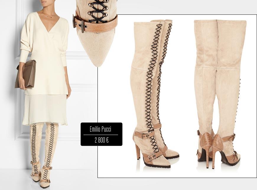 Kozačky nad kolena z kolekce Emilio Pucci podzim/zima 2014/2015.