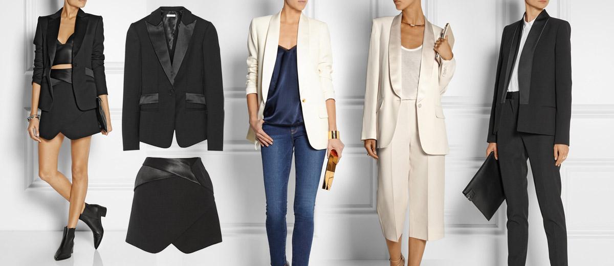 Naučte se nosit dámský smoking a tuxedo a zařaďte je konečně do svého šatníku! Pořád se nosí a nemusí jít pouze o náhradu večerních šatů.