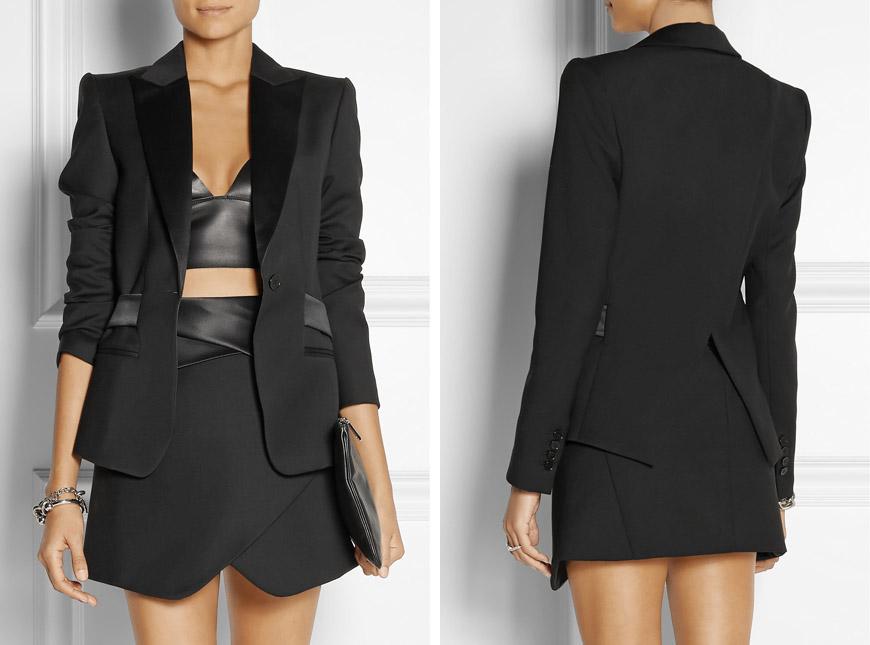 Smoking a tuxedo vypadají v dámském šatníku úžasně! Umožňuje také různé kreativní hrátky nebo design jako pro Femme Fatale.(Móda: Dion Lee)