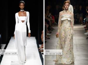 Večerní šaty pro rok 2015 z kolekcí Balmain a Rochas.