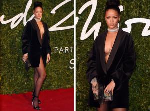 Takto pózovala Rihanna na British Fashion Awards – naostro, pouze ve smokingovém saku.