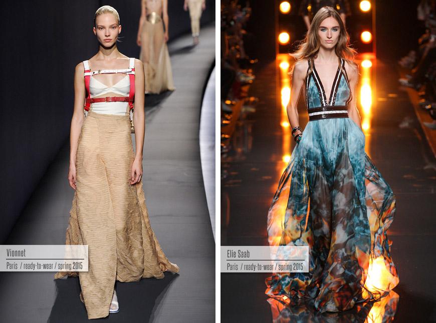 Večerní šaty pro rok 2015 z kolekcí Vionnet a Elie Saab.