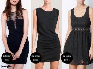 """Zipová mánie ovládla také """"malé černé"""" – koktejlové šaty zdobené zipem vypadají bezvadně. (Koktejlové šaty na obrázku jsou z kolekce Jennyfer, katalog podzim/zima 2014/2015.)"""