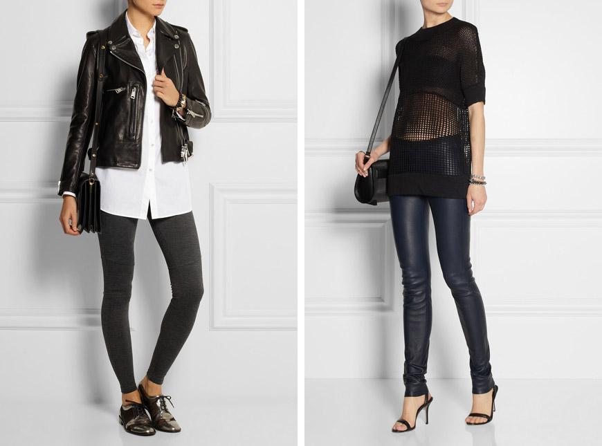 Jak se nosí leginy? Podívejte se na elegantní outfity s leginami od MM6 Maison Martin Margiela a Helmut Lang.