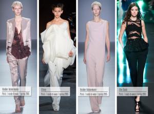 Večerní šaty pro rok 2015 jako společenské kalhotové komplety od Haider Ackermann (2x), Ellery a Elie Saab.