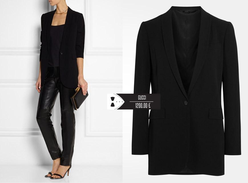 Dámské smoking se nosí také s koženými kalhotami nebo s jejich dokonalou imitací. (Móda: Gucci)
