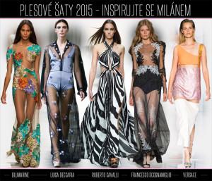 Inspirujte se plesovými šaty z Milano Fashion Week. Značka Blumarine představila šaty v módní průhlednosti poseté květinami. Šaty z kolekce Luisa Beccaria navíc k módní květům a průhlednosti přidávají také netradiční střih košilových šatů. Také šaty od Francesco Scognamiglio jsou průhledné a pod nimi můžeme jako součást vidět kalhotky ve stylu 50. let. Velice moderní střih šatů prostých zbytečné romantiky najdete v kolekci Versace. Jako ostrý kontrast pak působí rozevláté plisé šaty se zebřím vzorem z kolekce Roberto Cavalli.