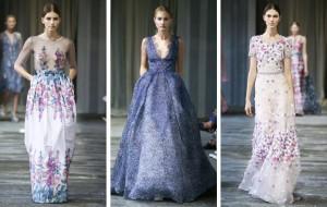 Nabijte se pozitivní energií. Oblečete si na ples šaty zdobené květinovými potisky nebo 3D květinami. (Šaty na obrázku jsou z kolekce Luisa Beccaria.)