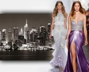 Oblečte se na ples jako módní ikona z New Yorku. Na obrázku jsou plesové šaty 2015 z kolekcí Badgley Mischka a Naeem Khan.