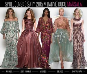 Společenské šaty 2015 si s barvou roku Marsala dokonale pohrávají. Berou si z ní špetky noblesy, ale také masu pompéznosti. Co se vám líbí více?